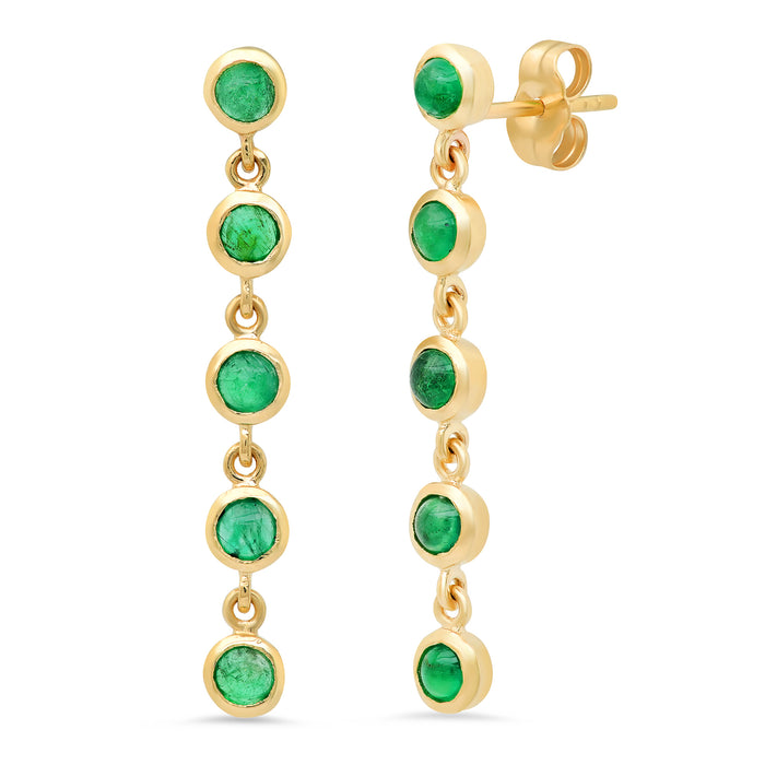 5 Emerald Bezel Drop Earrings