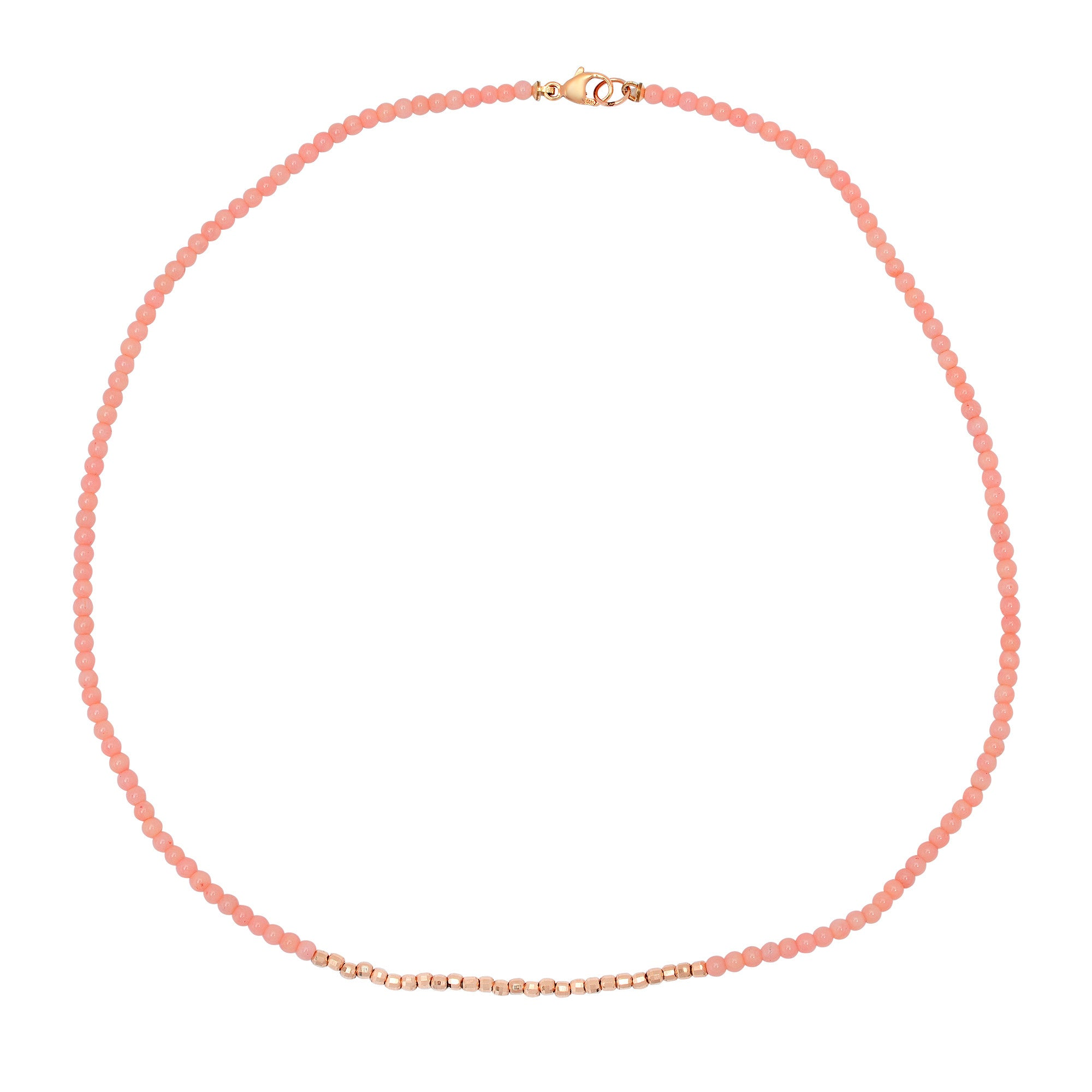 Coral Necklace with Gold Beads