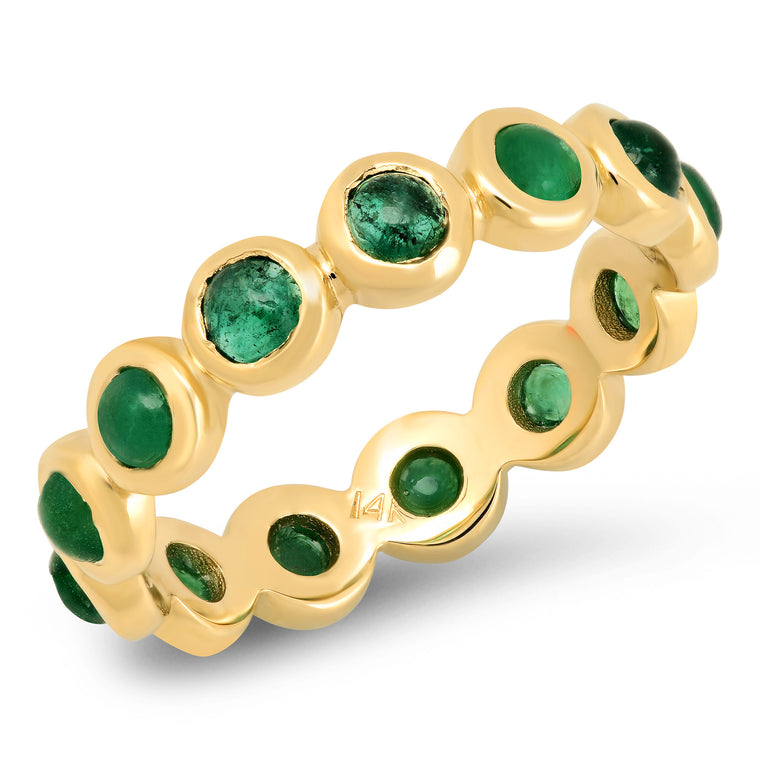 Small Emerald Stone Eternity Band