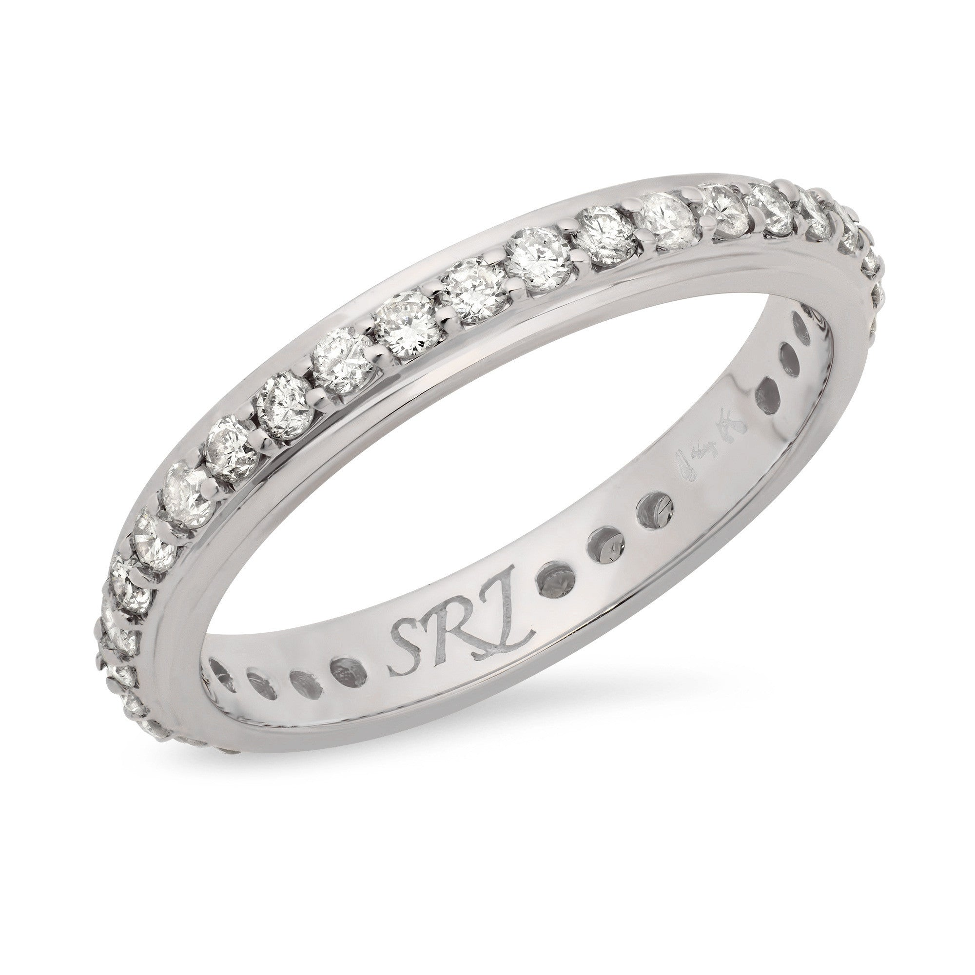 band eternity gold wedding white tw bands in diamond ct