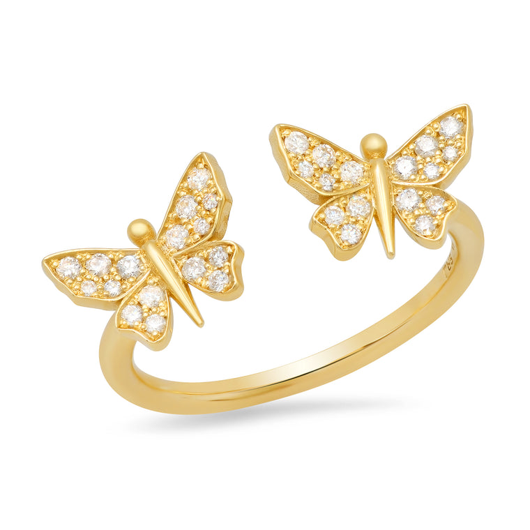 Floating Diamond Butterfly Ring