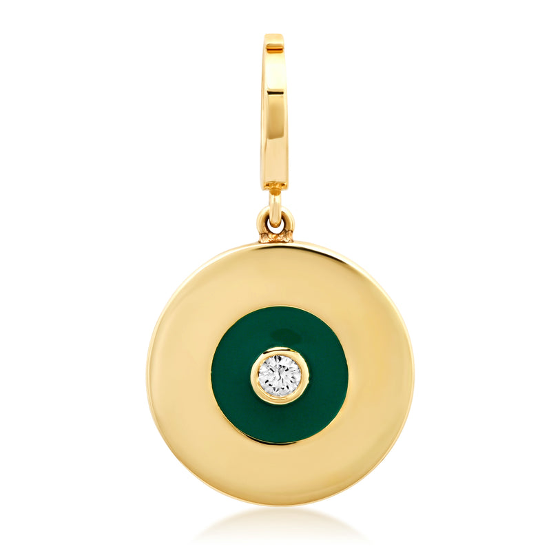 Gold Disc Charm with Emerald Green Enamel and Diamond Center