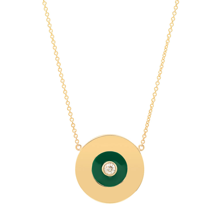 Gold Disc Necklace with Emerald Green Enamel and Diamond Center