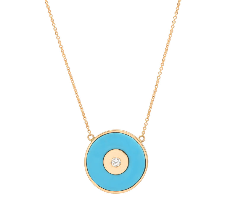 Turquoise Evil Eye Disc Necklace with Diamond Center