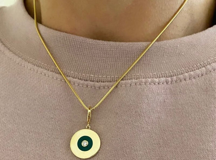 Gold Disc with Emerald Green Enamel and Diamond Center