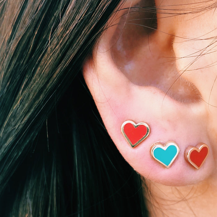 Red Enamel heart studs
