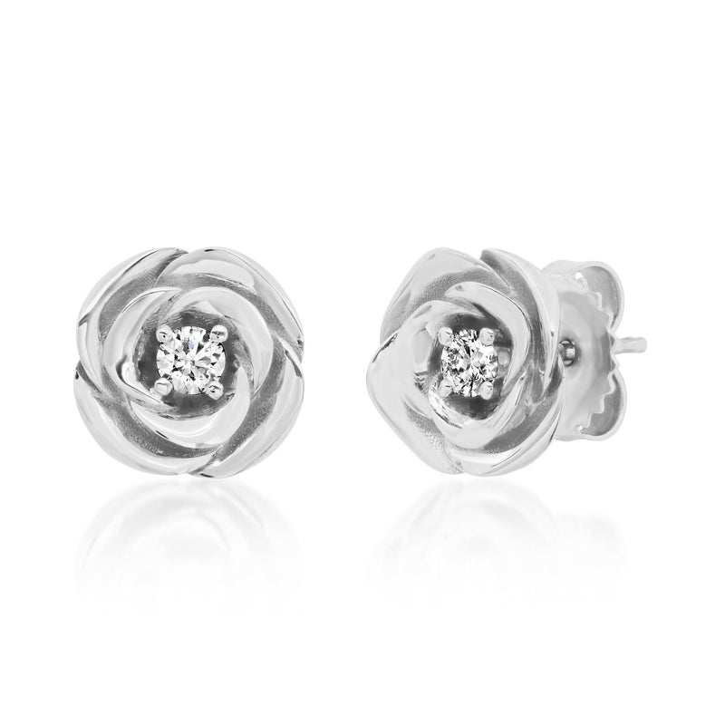 Floating Rose Diamond Studs