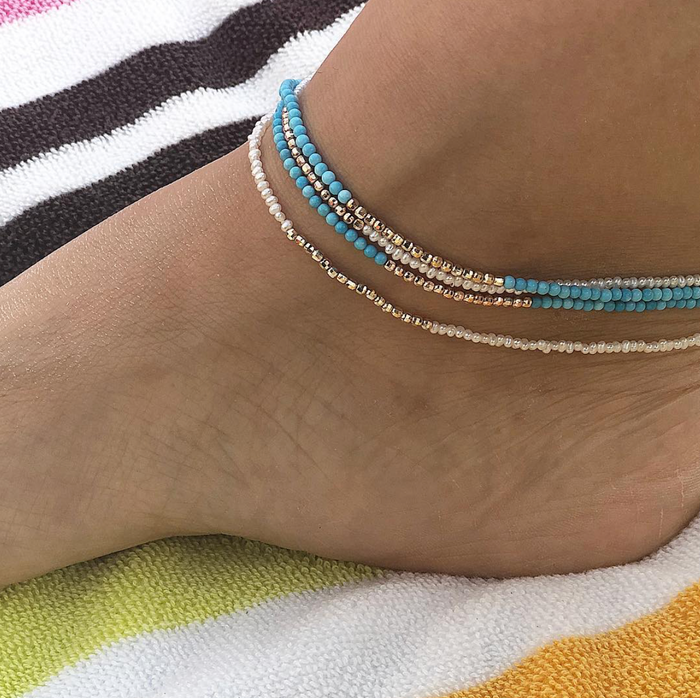 Pearl Beaded Anklet with 14k Gold Center
