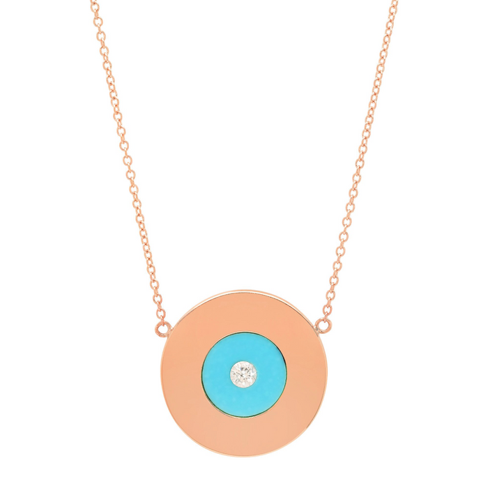 Gold Disc Necklace with Turquoise and Diamond Center