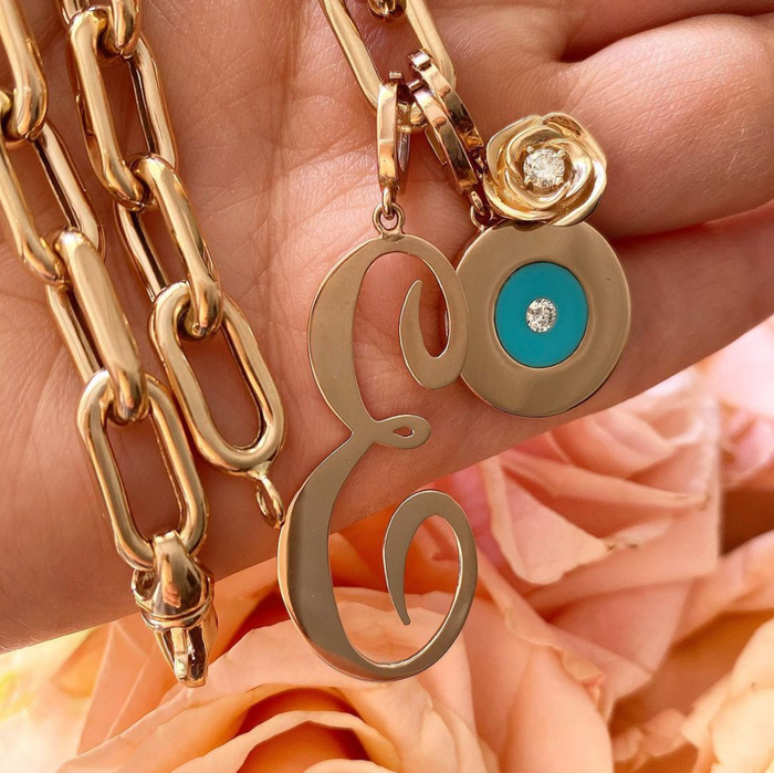 Gold Disc Charm with Turquoise and Diamond Center