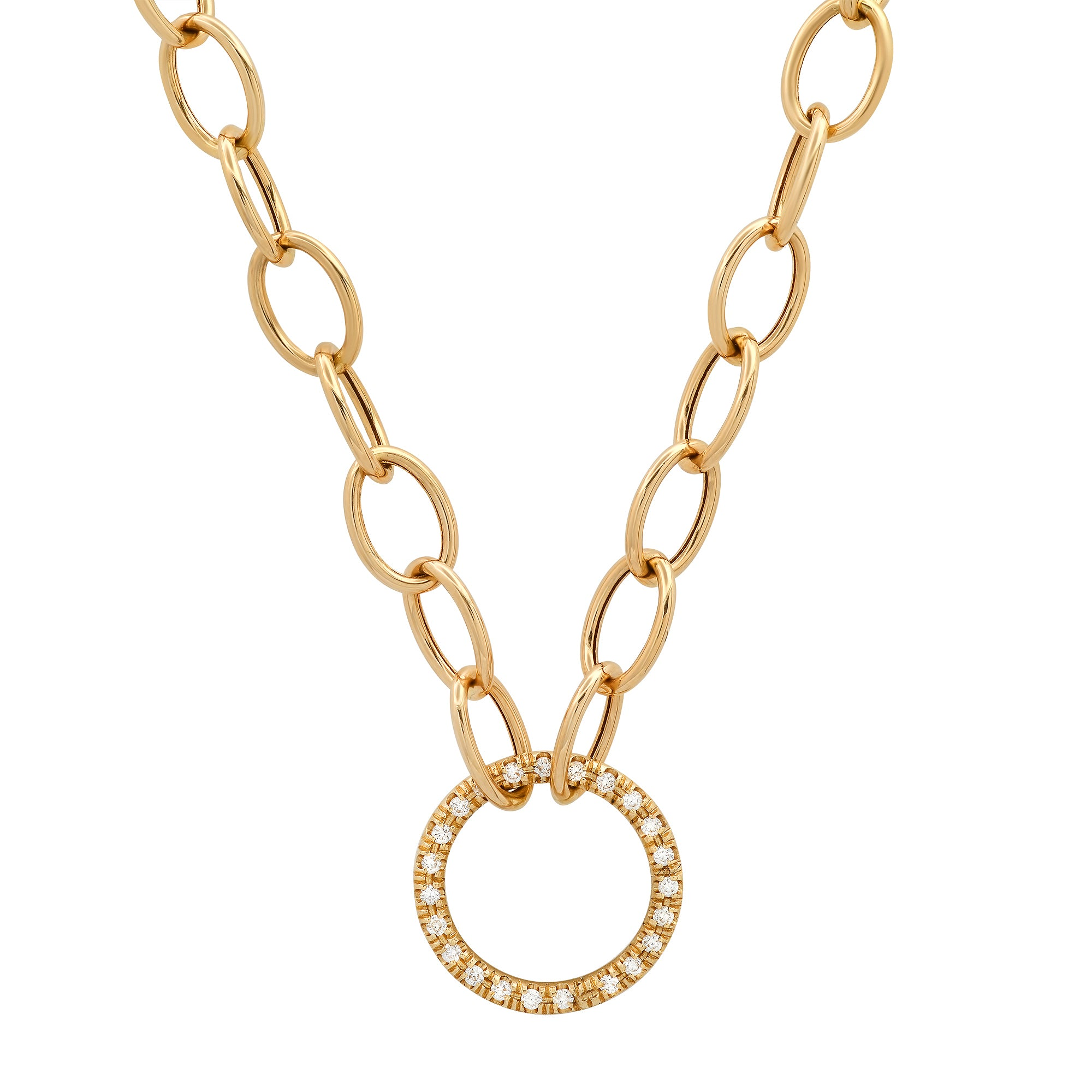 Toggle Chain with Diamond Gold Charm Ring Holder