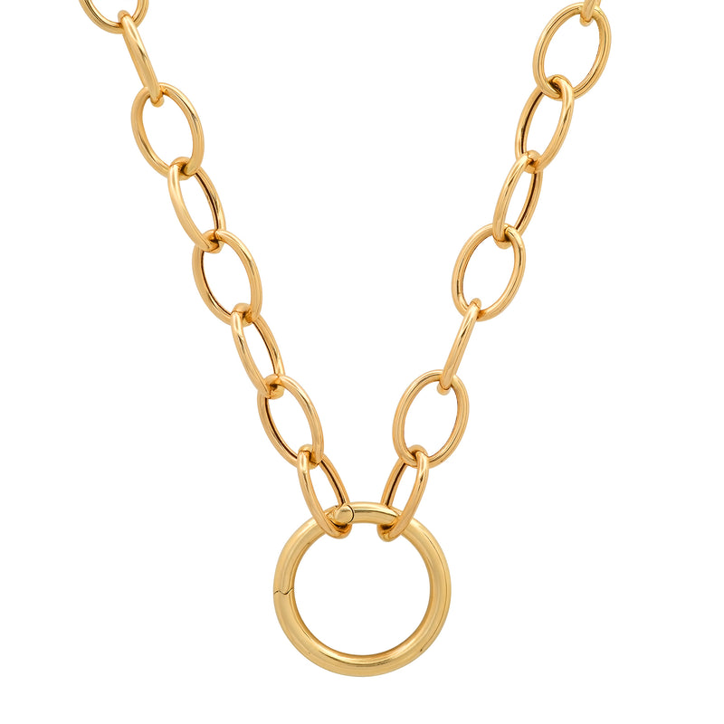Toggle Chain with Solid Gold Charm Ring Holder