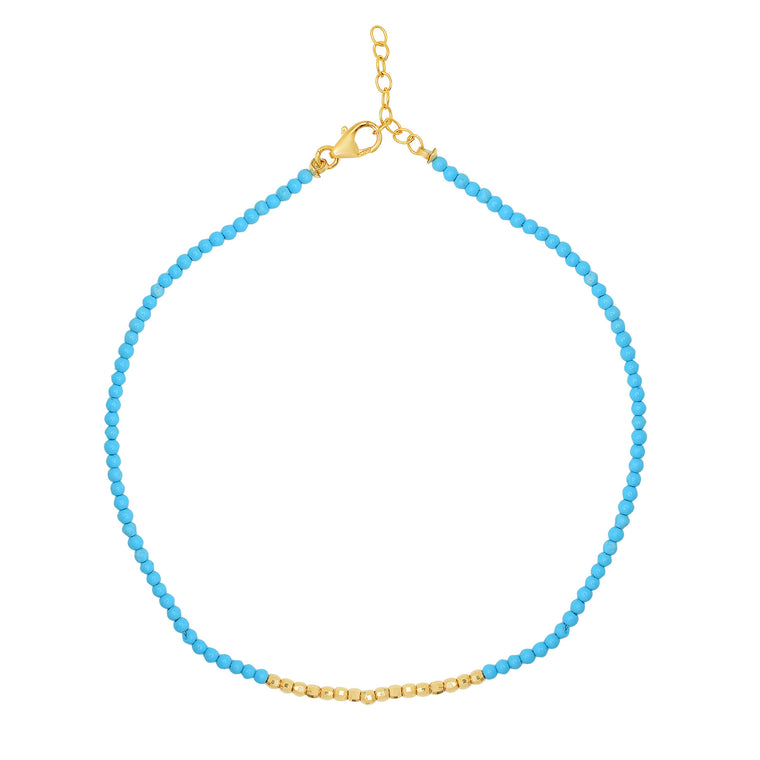Turquoise Beaded Anklet with 14K Gold Center