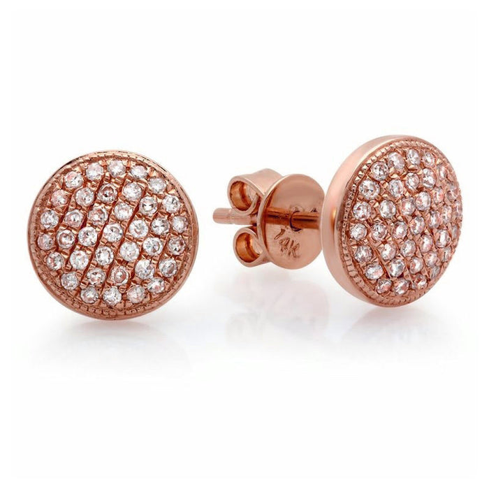 Large Domed Pave Stud Earrings