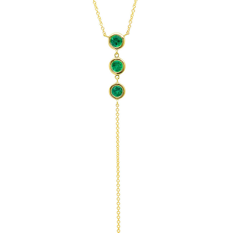 3 Bezel Set Emerald Lariat