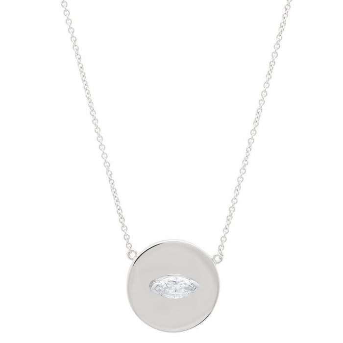 Small Marquise Diamond Disc Necklace