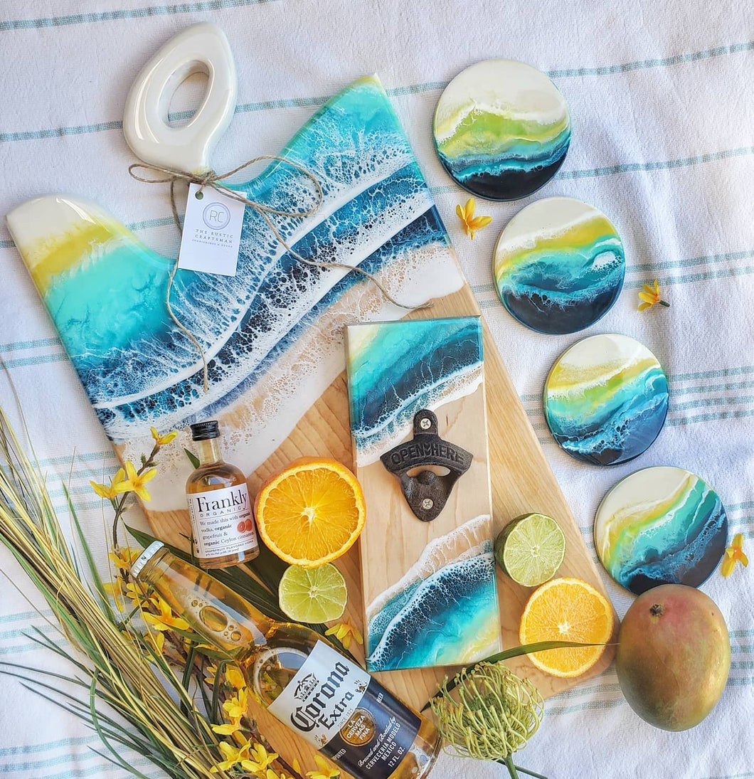 Ocean Board, Coaster, & Bottle Opener Sets