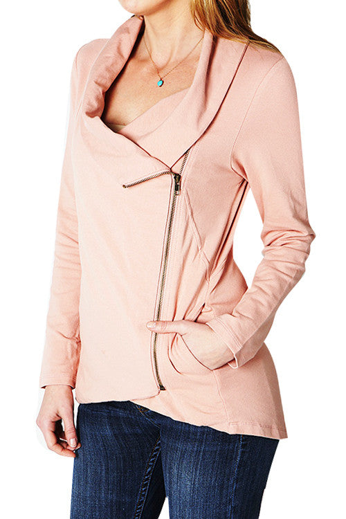 Zip-Up Asymmetrical Knit Top Jacket