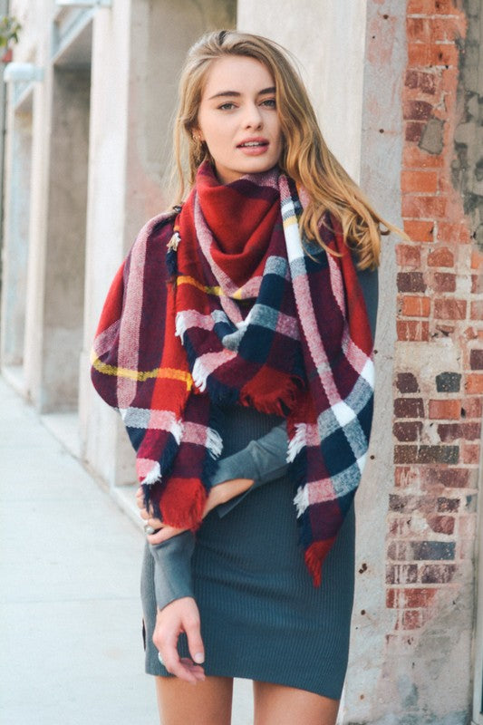 LUXE PLAID BLANKET SCARF W/ FRINGE