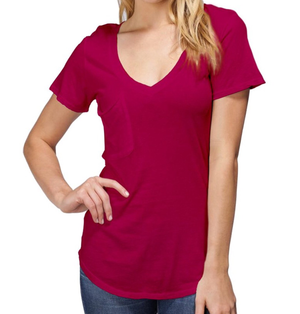 Bobi Light Weight Jersey V Neck Pocket T