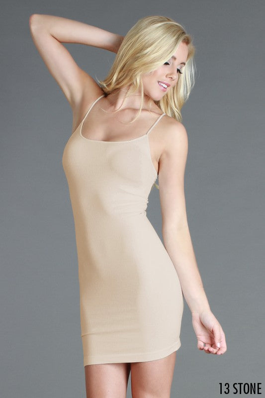 SEAMLESS SPAGHETTI STRAP SLIP LAYERING TANK DRESS
