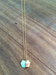 Gold Geometric Heart Pendant Necklace