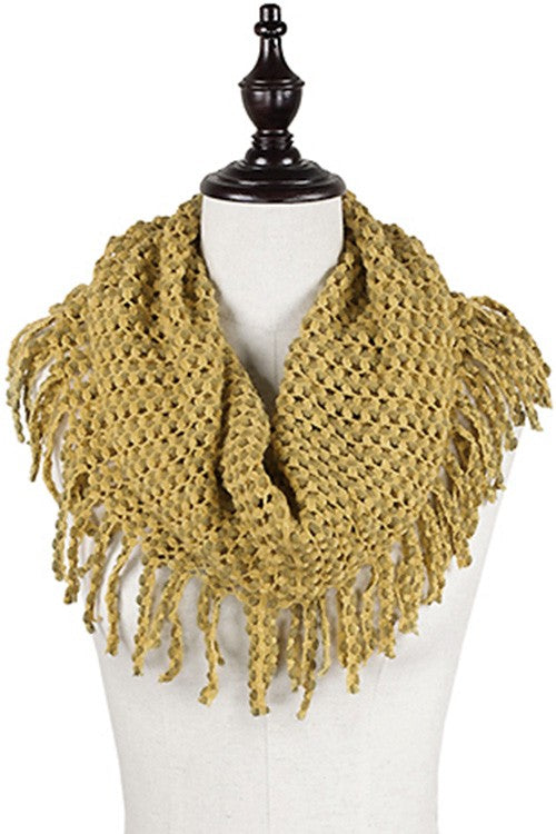 Mini Tube Infinity Scarf with Fringe