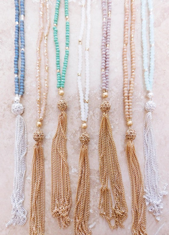 Offshore Beaded Tassel Necklace
