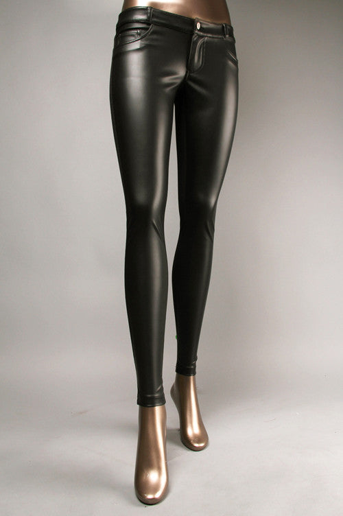 Faux Leather-Knit Blocking Pants