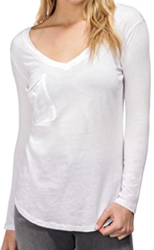 Bobi Long sleeve V Neck Pocket T