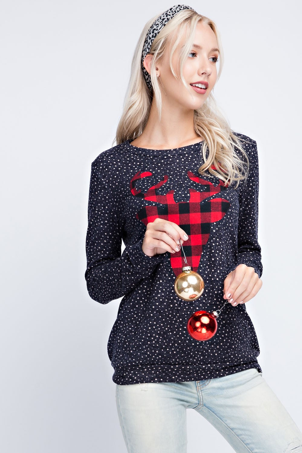 MINI DOT POLKA DOT REINDEER TOP