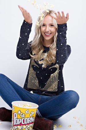 THE DANCER POLKA DOT SEQUINED REINDEER TOP