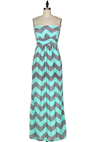 Chevron Print Strapless Maxi Dress