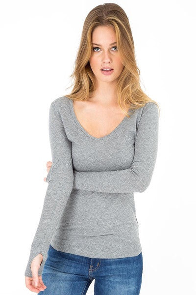 BOBI Light Weight Jersey Open back Tee with Thumbholes