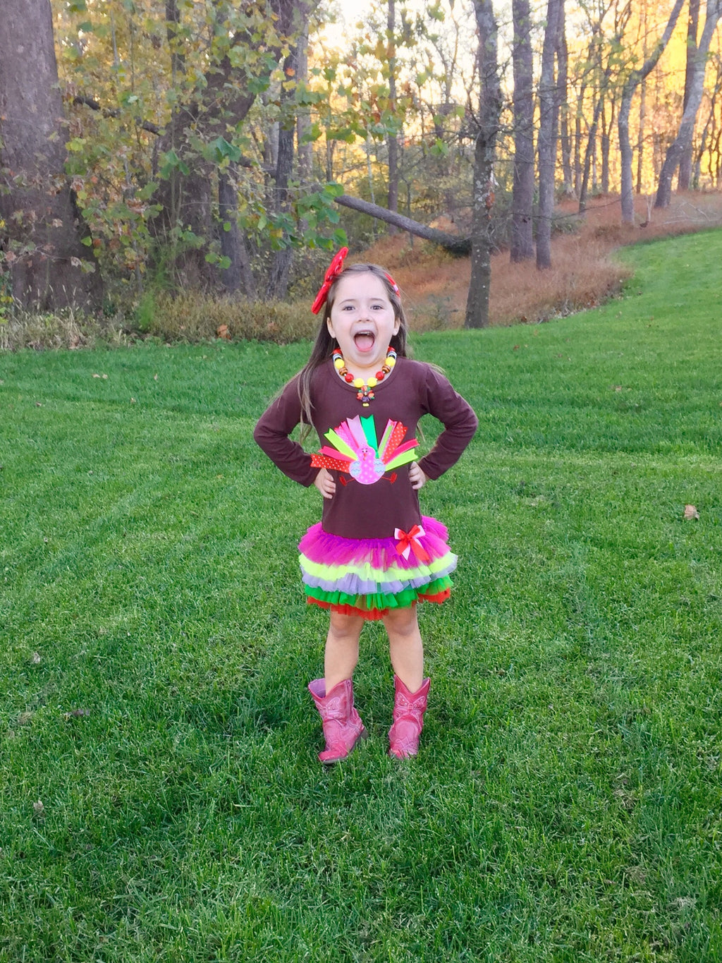 Happy Turkey Day Dress w/Necklace