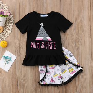 WILD AND FREE GRAPHIC T SHIRT SET