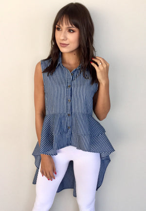 AS IF HIGH LOW STRIPED TOP