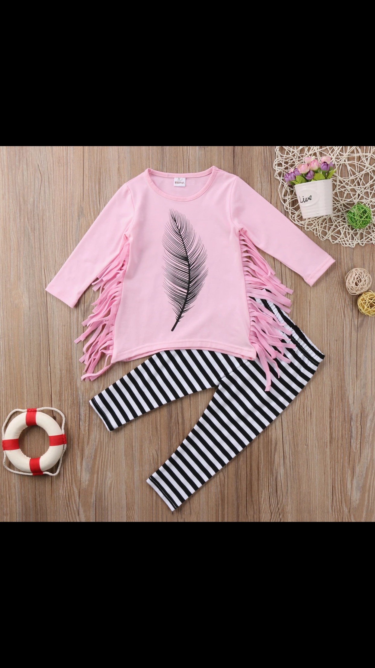 Feather Print Fringe Top with Pants Set