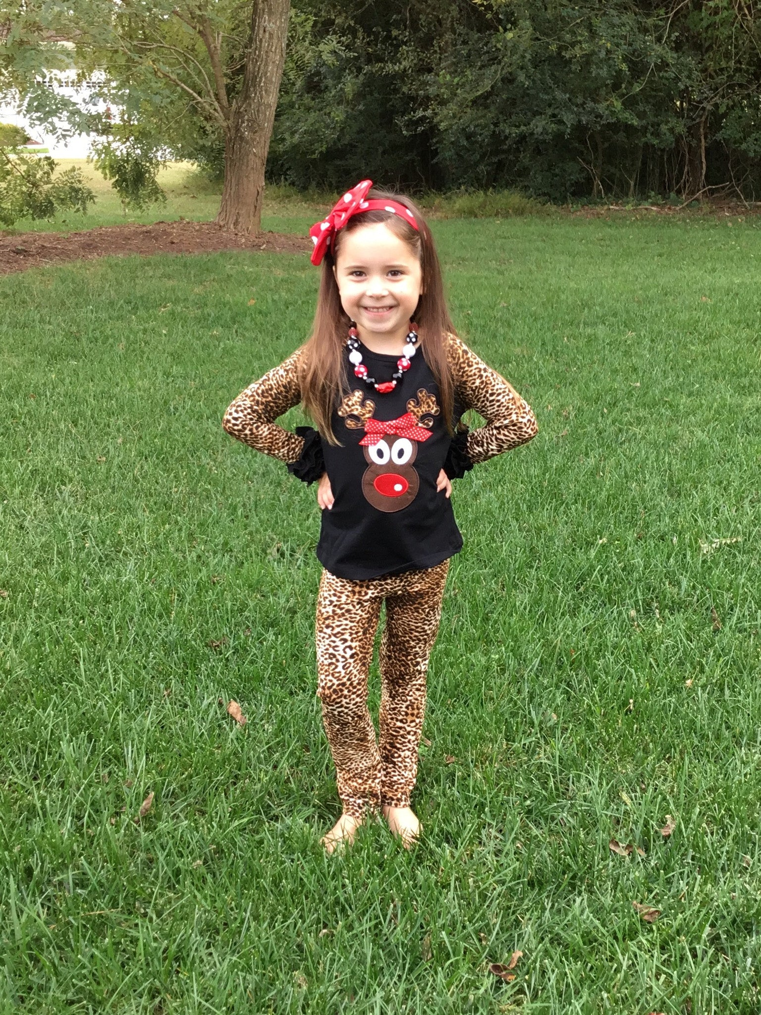 Rudolph Reindeer Top & Leopard Print Leggings Set