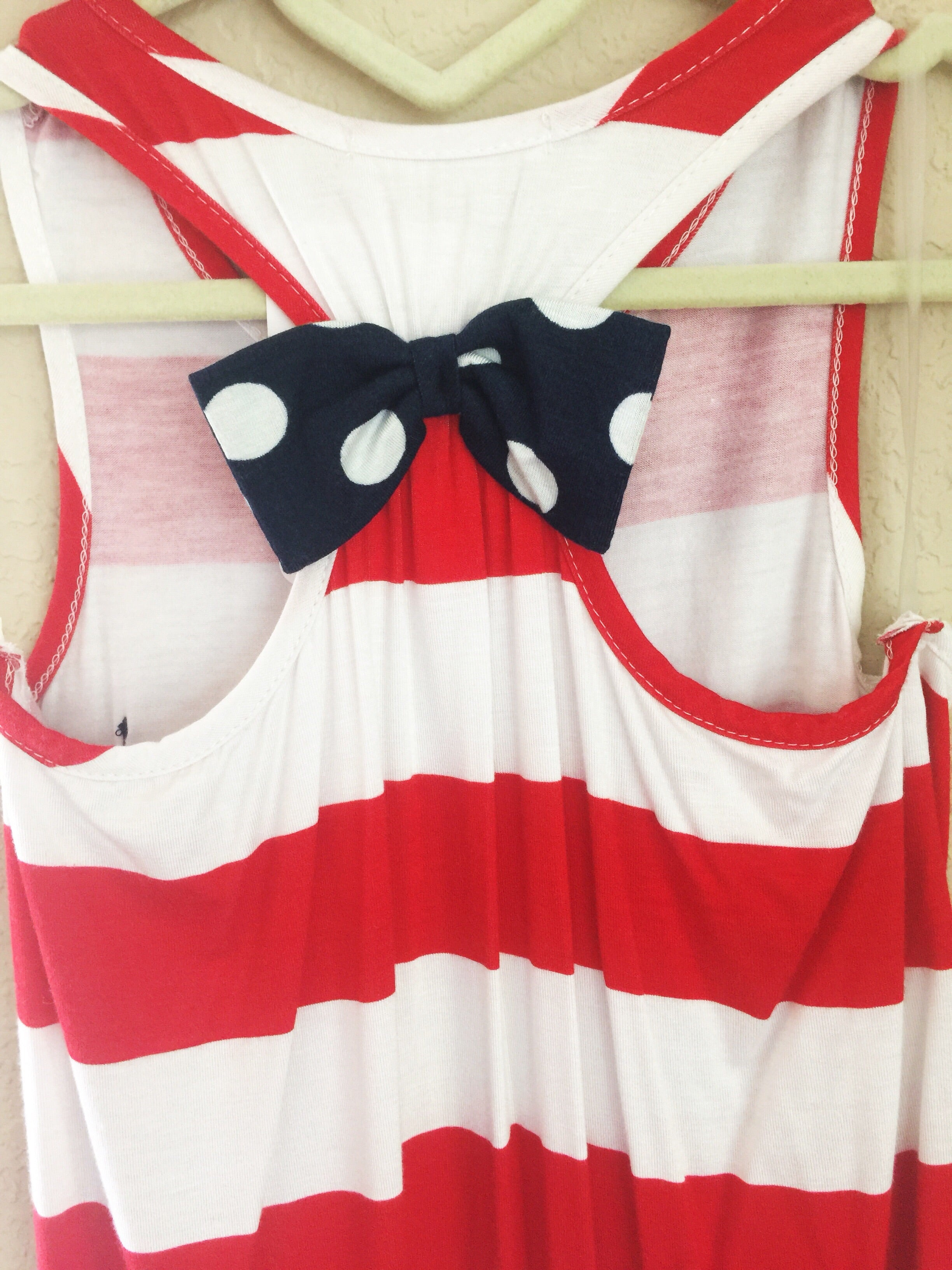 Kids Red White and You Bow Back Tank