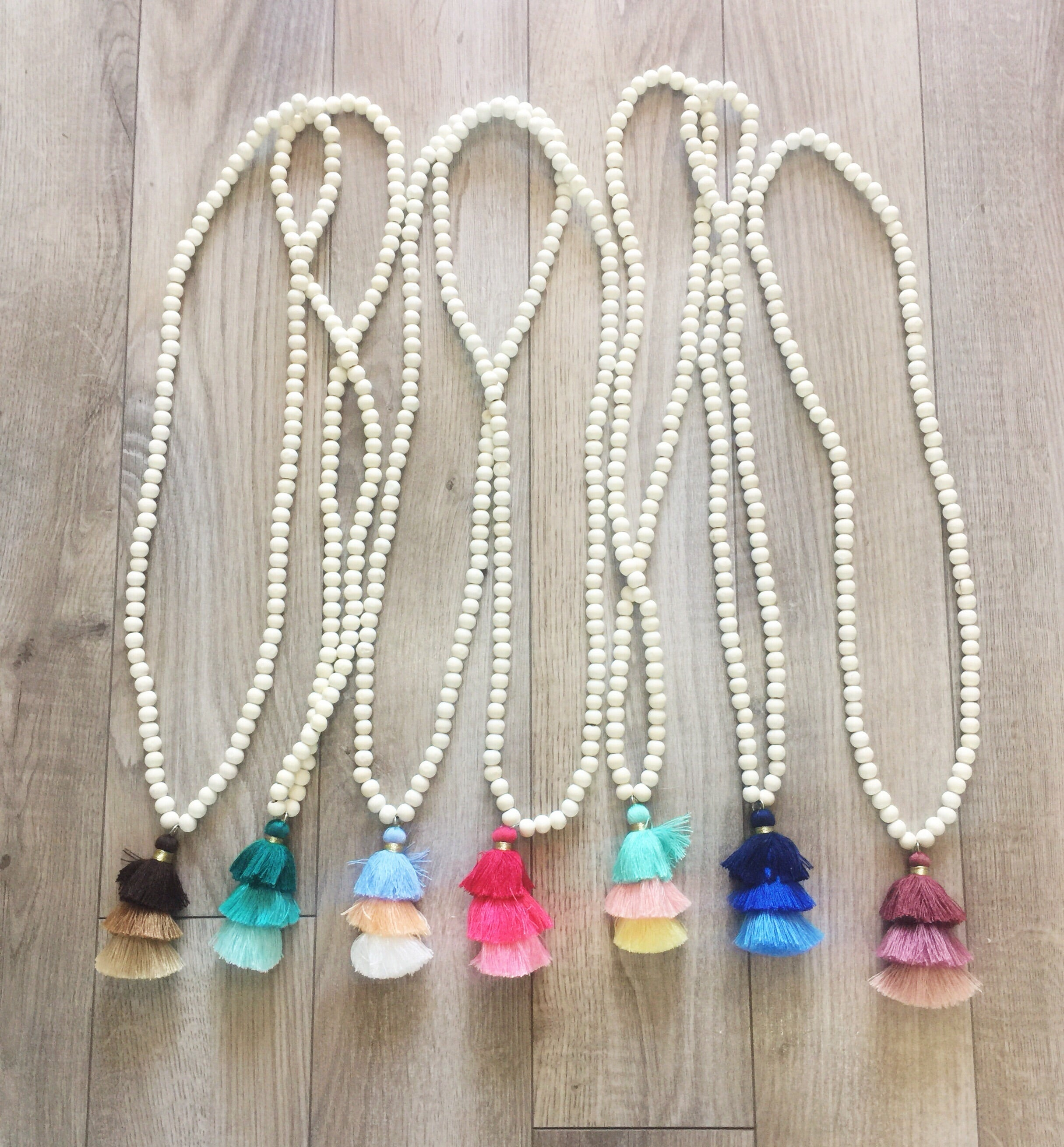 TIERED TASSEL BEADED NECKLACE