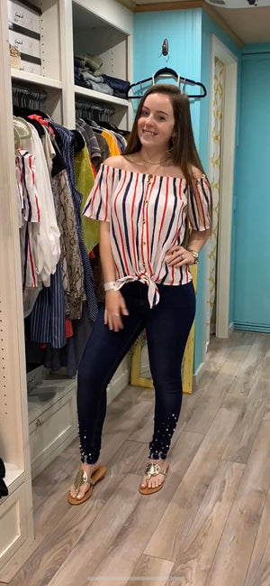 RED WHITE AND YOU STRIPED TOP