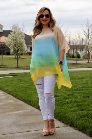 BLUE HORIZON SHEER PONCHO