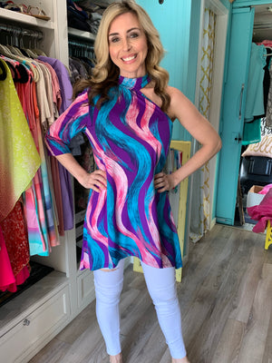 FEELING SWIRLY ONE SHOULDER TUNIC