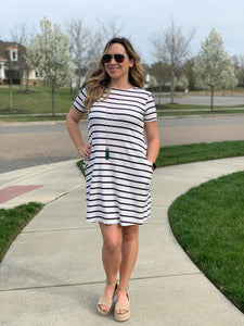 SEEING STRIPES T SHIRT DRESS