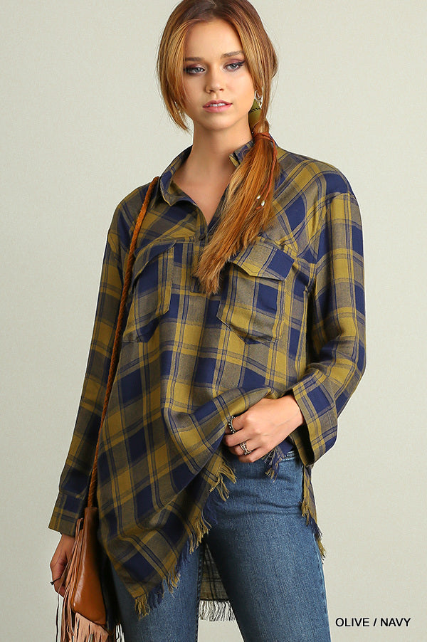 THE SURI PLAID TOP WITH FRINGE