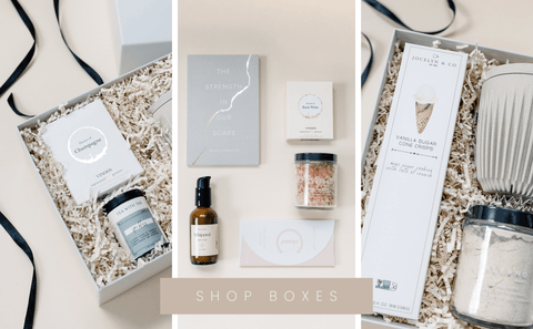 collage of curated gift box items in keepsake box.