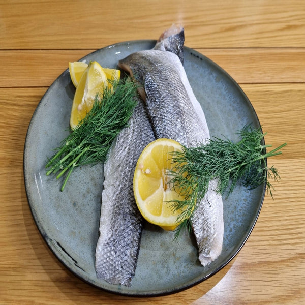 2 Cornish Wild Seabass fillets, delivered to your door. We deliver to Bristol, Somerset, Bath, Weston Super Mare, Taunton, Newport, North Somerset, and Gloucestershire. Order your fish and meat with us today, order online or by phone.