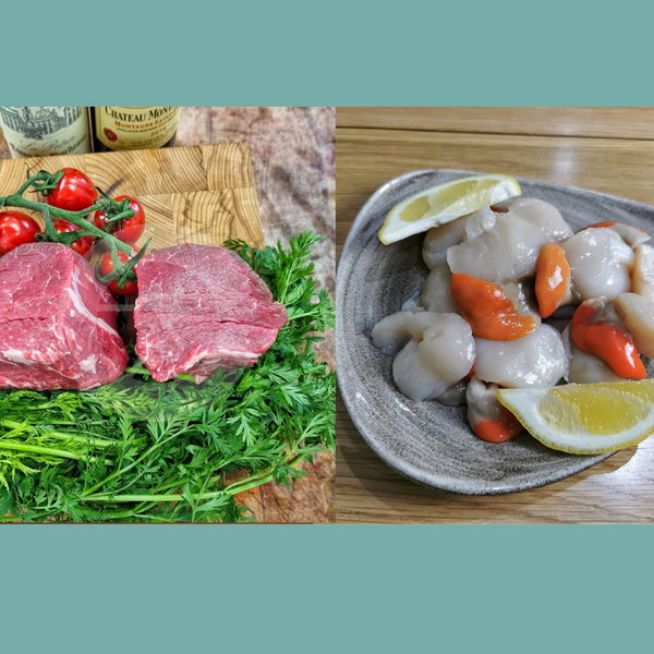 2x Grass Fed Somerset Fillet Steaks, and 8 Cornish Scallops delivered to your door. We deliver to Bristol, Somerset, Bath, Weston Super Mare, Taunton, Newport, North Somerset, and Gloucestershire. Order your fish and meat with us today, order online or by phone.