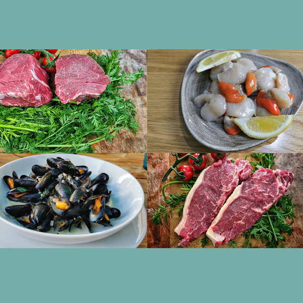 Land & Sea Platter. The ultimate surf and turf. We deliver to Bristol, Somerset, Bath, Weston Super Mare, Taunton, Newport, North Somerset, and Gloucestershire. Order your fish and meat with us today, order online or by phone.